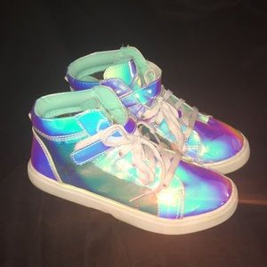 Holographic Unicorn kids shoes*Wonder Nation Iridescent High-Top Sneaker